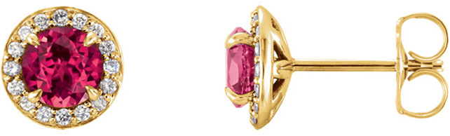 14 Karat Yellow Gold 5mm Round Chatham Created Ruby & 1/6 Carat Total Weight Diamond Earrings