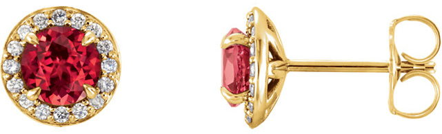 14 Karat Yellow Gold 5mm Round Ruby & 1/6 Carat Total Weight Diamond Earrings