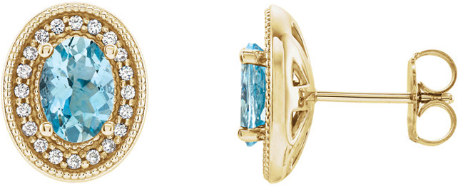 14 Karat Yellow Gold Aquamarine & 1/5 Carat Total Weight Diamond Halo-Style Earrings