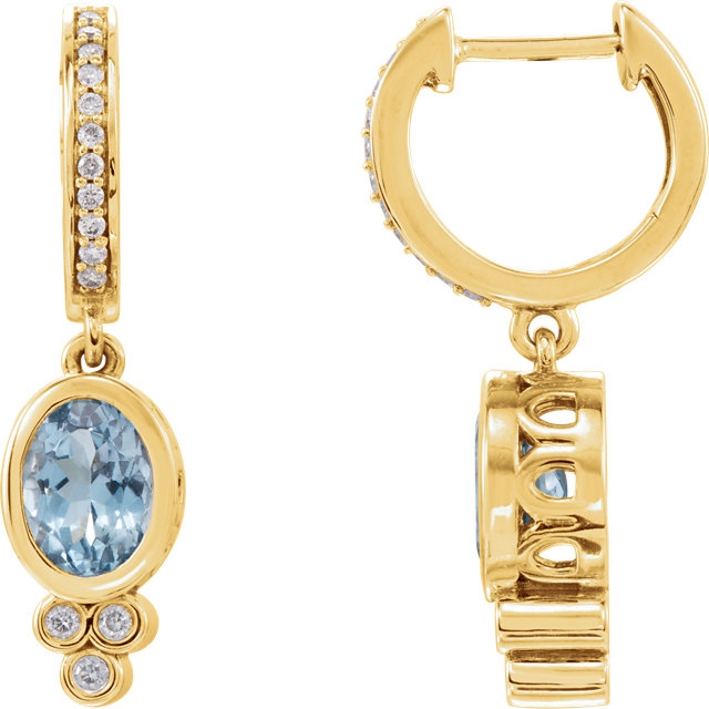 14 Karat Yellow Gold Aquamarine & 1/6 Carat Total Weight Diamond Earrings
