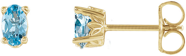 14 Karat Yellow Gold Aquamarine Earrings