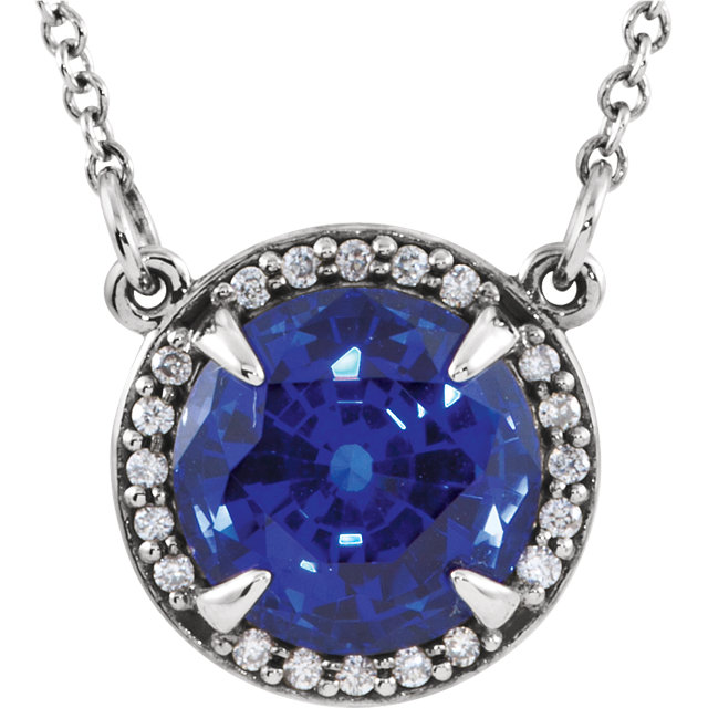 14 Karat White Gold Chatham Created Blue Sapphire and .04 Carat Total Weight Diamond Necklace