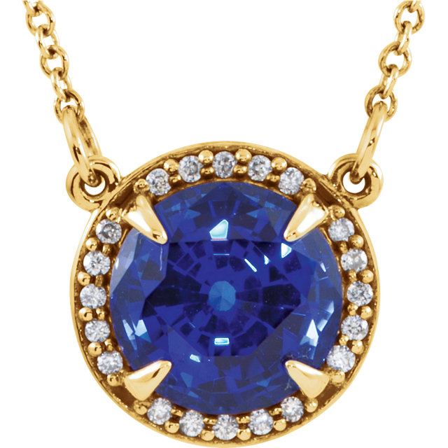 14 Karat Yellow Gold Chatham Created Blue Sapphire and .04 Carat Total Weight Diamond Necklace