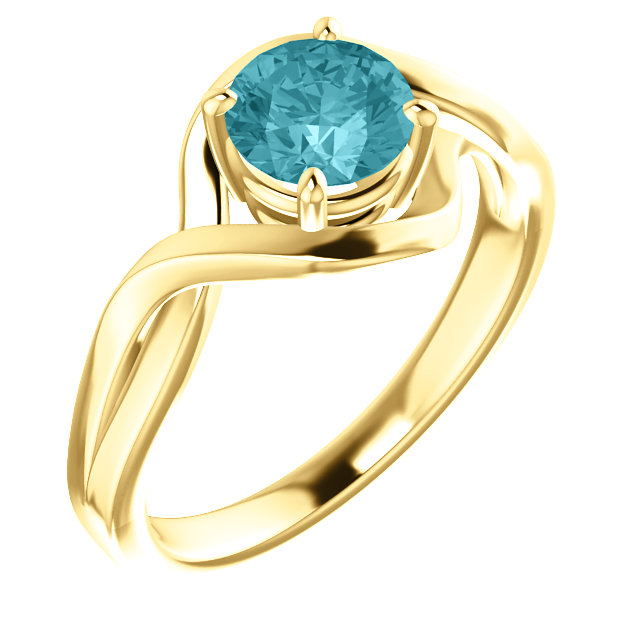 14 Karat Yellow Gold Blue Zircon Ring