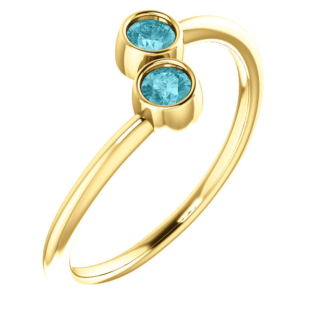 14 Karat Yellow Gold Blue Zircon Two-Stone Ring