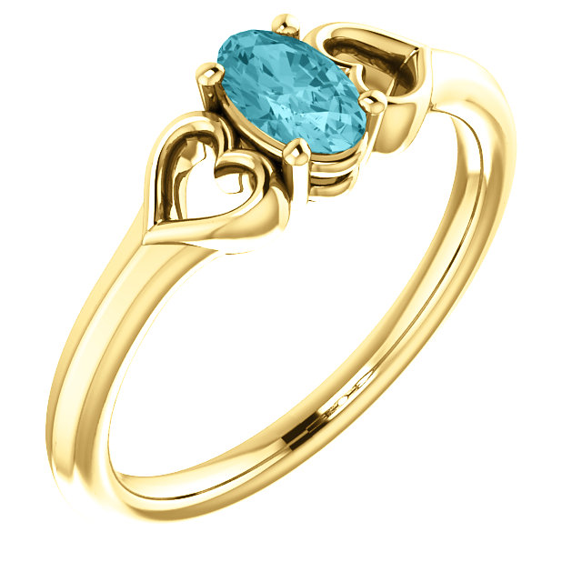 14 Karat Yellow Gold Blue Zircon Youth Heart Ring
