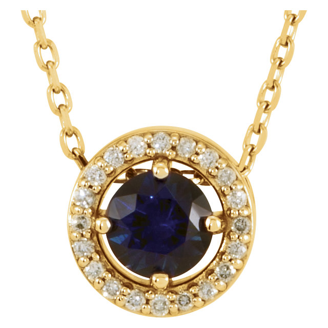 14 Karat Yellow Gold Chatham Created Blue Sapphire and .05 Carat Total Weight Diamond Necklace