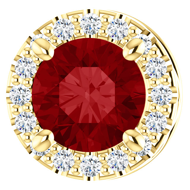 14 Karat Yellow Gold Chatham Created Ruby & .07 Carat Total Weight Diamond Pendant Slide