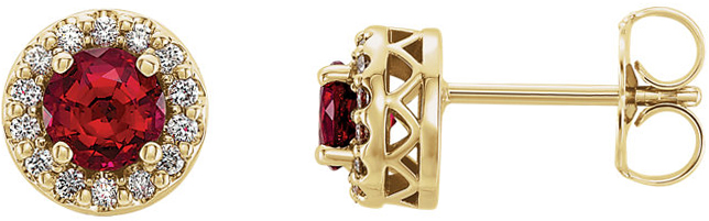 14 Karat Yellow Gold Chatham Created Ruby & .08 Carat Total Weight Diamond Earrings