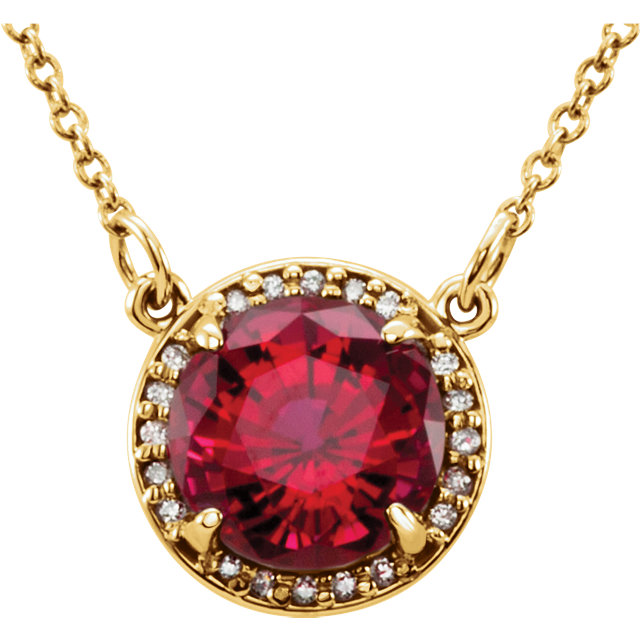 14 Karat Yellow Gold Chatham Created Ruby and .04 Carat Total Weight Diamond Necklace