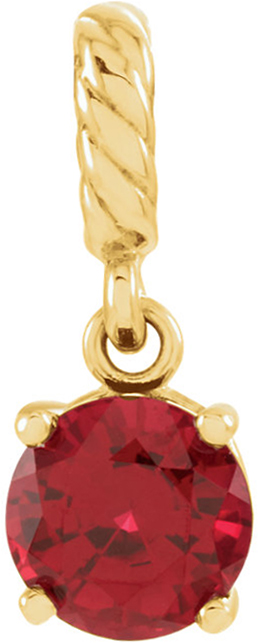 14 Karat Yellow Gold Chatham Created Ruby Rope Pendant