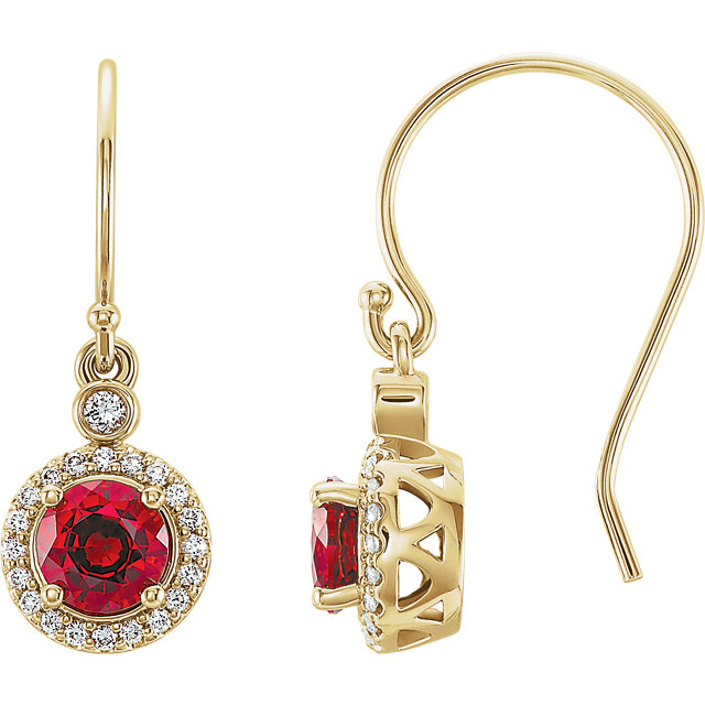 14 Karat Yellow Gold Chatham Lab Grown Ruby & 1/6 Carat Total Weight Diamond Halo-Style Earrings