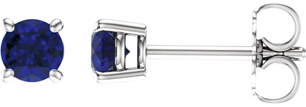 14 Karat White Gold 4mm Round Chatham Created Blue Sapphire Earrings