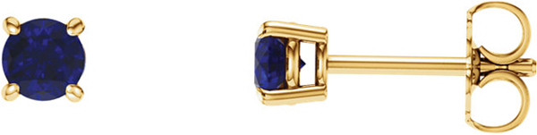 14 Karat Yellow Gold 4mm Round Chatham Created Blue Sapphire Earrings