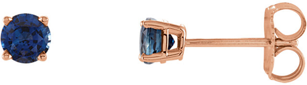 14 Karat Rose Gold 4mm Round Chatham Created Blue Sapphire Earrings