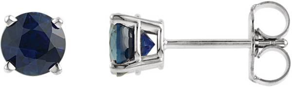 14 Karat White Gold 5mm Round Chatham Created Blue Sapphire Earrings