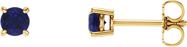 14 Karat Yellow Gold 5mm Round Chatham Created Blue Sapphire Earrings