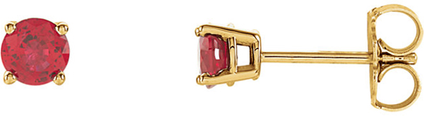 14 Karat Yellow Gold 4mm Round Chatham Created Ruby Earrings