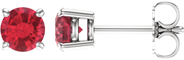 14 Karat White Gold 5mm Round Chatham Created Ruby Earrings
