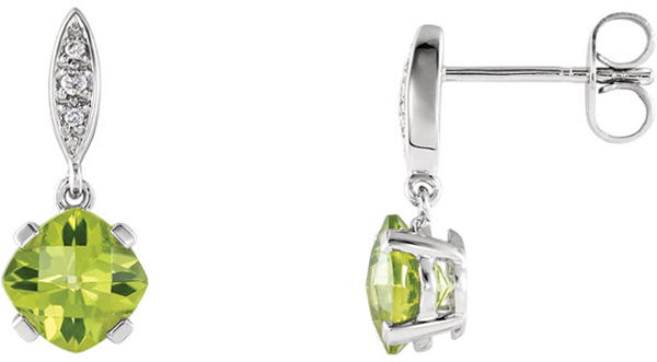 14 Karat White Gold Peridot & .04 Carat Total Weight Diamond Earrings
