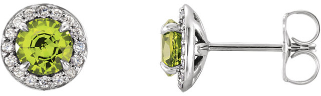 14 Karat White Gold 5mm Round Peridot & 1/6 Carat Total Weight Diamond Earrings