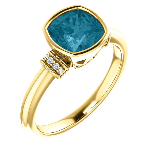 14 Karat Yellow Gold London Blue Topaz & .04 Carat Total Weight Diamond Ring