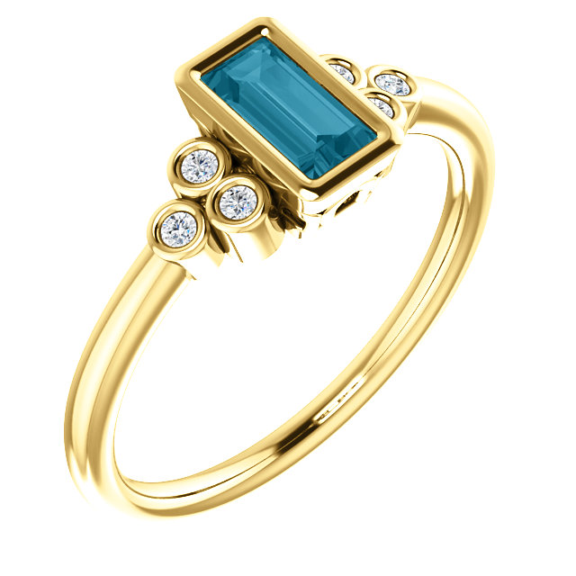 14 Karat Yellow Gold London Blue Topaz & .06 Carat Total Weight Diamond Ring