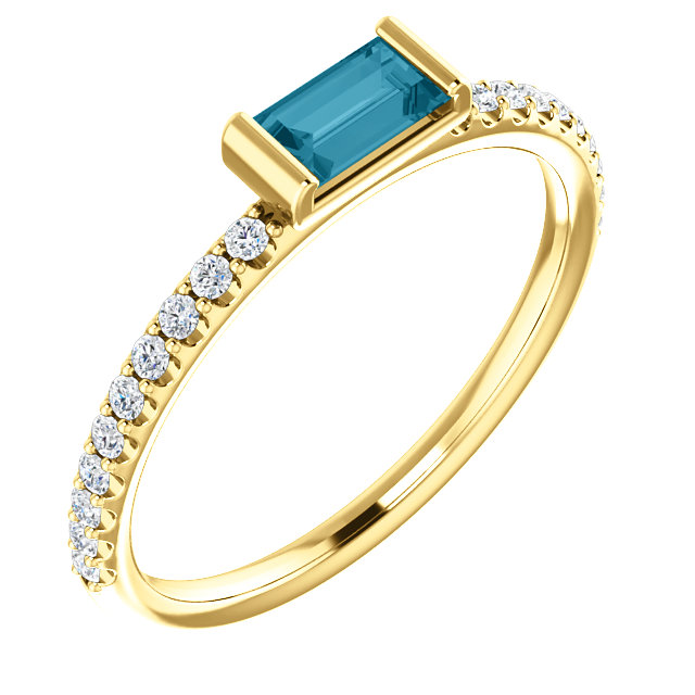 14 Karat Yellow Gold London Blue Topaz & 1/6 Carat Total Weight Diamond Stackable Ring