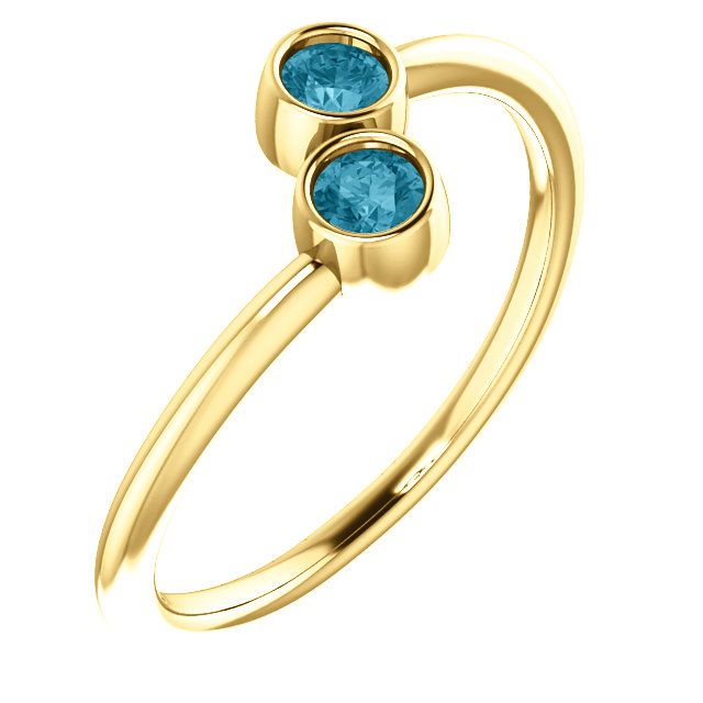 14 Karat Yellow Gold London Blue Topaz Two-Stone Ring