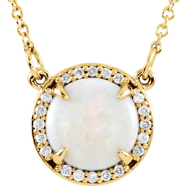 14 Karat Yellow Gold Opal & .05 Carat Total Weight Diamond 16