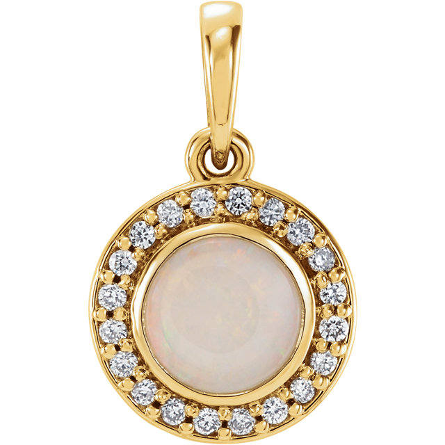 14 Karat Yellow Gold Opal & 1/10 Carat Total Weight Diamond Pendant