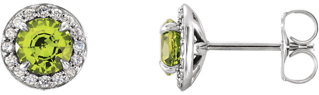 14 Karat White Gold Round Peridot & 1/8 Carat Total Weight Diamond Earrings