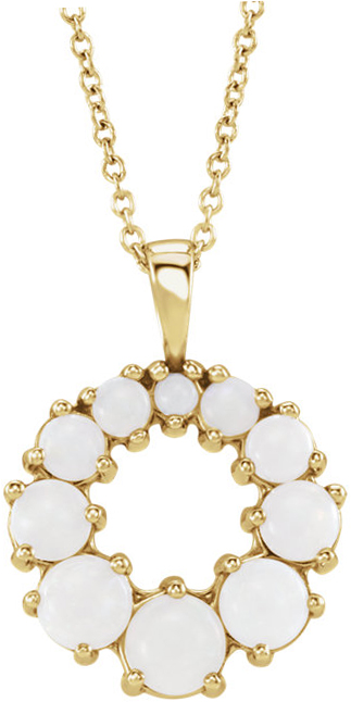 14 Karat Yellow Gold Opal Halo-Style Necklace