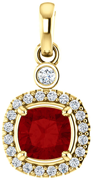 14 Karat Yellow Gold Ruby & 1/8 Carat Total Weight Diamond Pendant