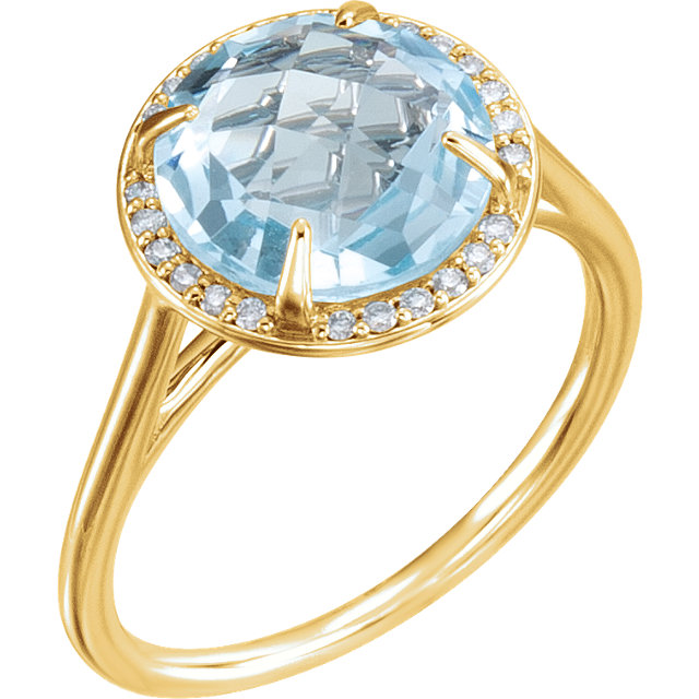 14 Karat Yellow Gold Sky Blue Topaz & 1/8 Carat Total Weight Diamond Ring