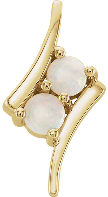 14 Karat Yellow Gold White Opal Two-Stone Pendant