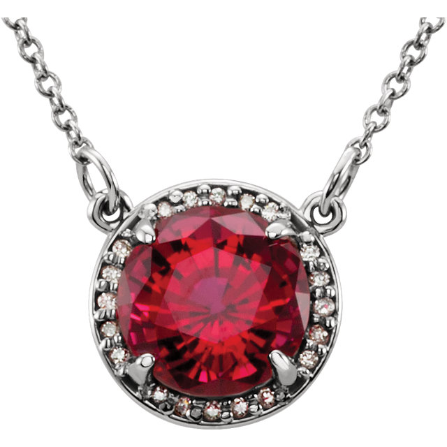 14 Karat White Gold Chatham Created Ruby & .04 Carat Total Weight Diamond Necklace