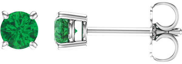 14 Karat White Gold 4mm Round Chatham Created Emerald Earrings