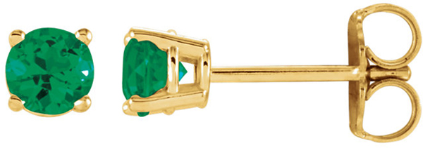 14 Karat Yellow Gold 4mm Round Chatham Created Emerald Earrings