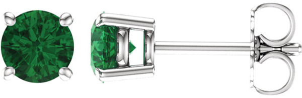 14 Karat White Gold 5mm Round Chatham Created Emerald Earrings