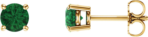 14 Karat Yellow Gold 5mm Round Chatham Created Emerald Earrings