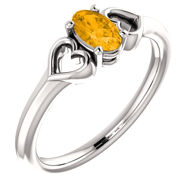 Platinum Citrine Youth Heart Ring