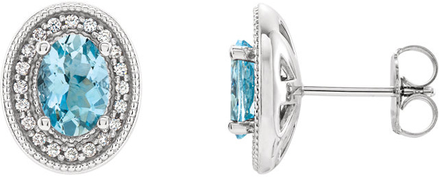 Platinum Aquamarine & 1/5 Carat Total Weight Diamond Halo-Style Earrings