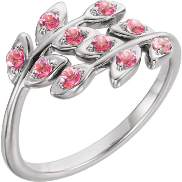 Platinum Baby Pink Topaz Leaf Design Ring