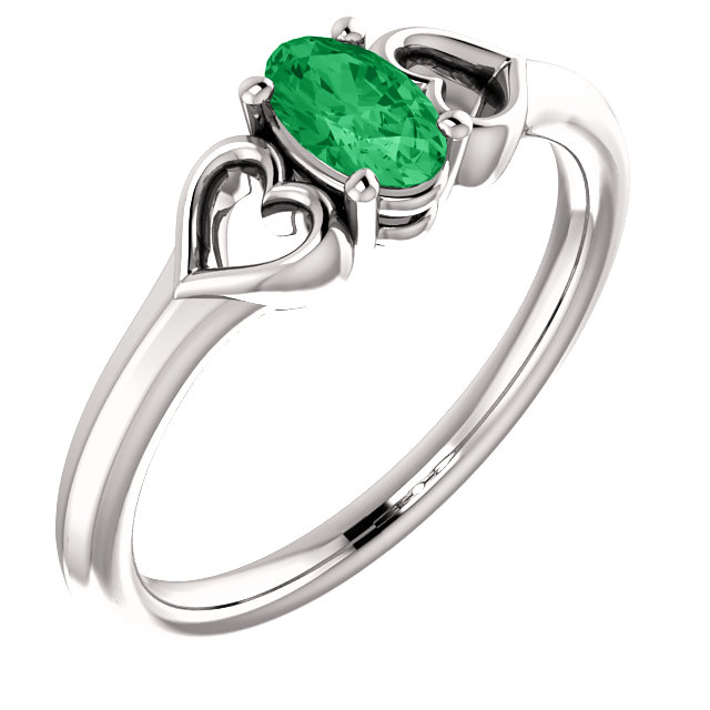 Platinum Chatham Created Emerald Youth Heart Ring