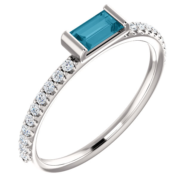 Platinum London Blue Topaz & 1/6 Carat Total Weight Diamond Stackable Ring