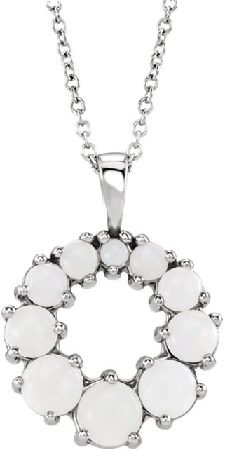 Platinum Opal Halo-Style Necklace