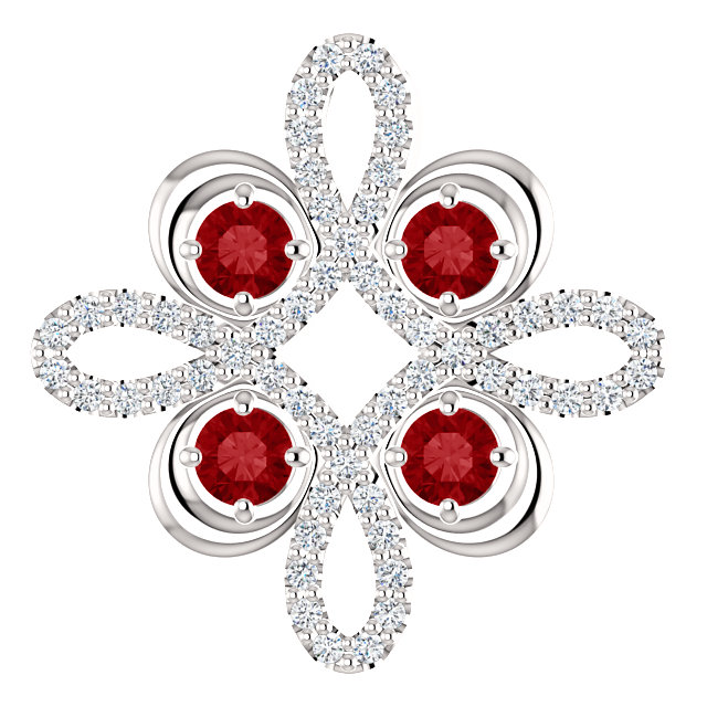 Platinum Ruby and 1/6 Carat Total Weight Diamond Clover Pendant
