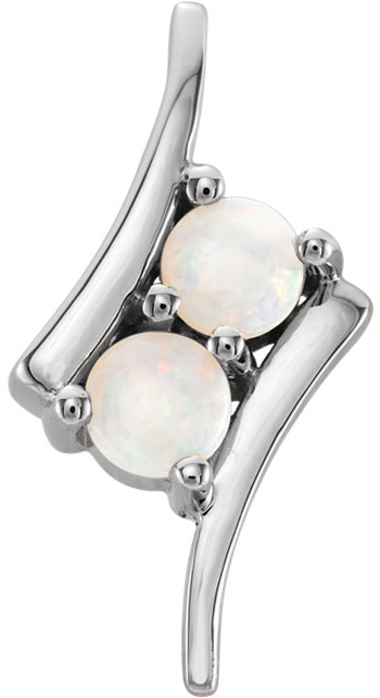 Platinum White Opal Two-Stone Pendant