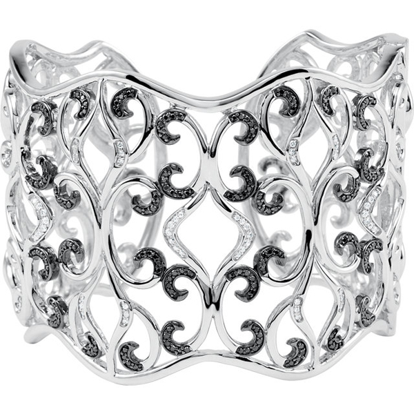 Sterling Silver 1 1/3 Carat Total Weight Diamond Cuff Bracelet